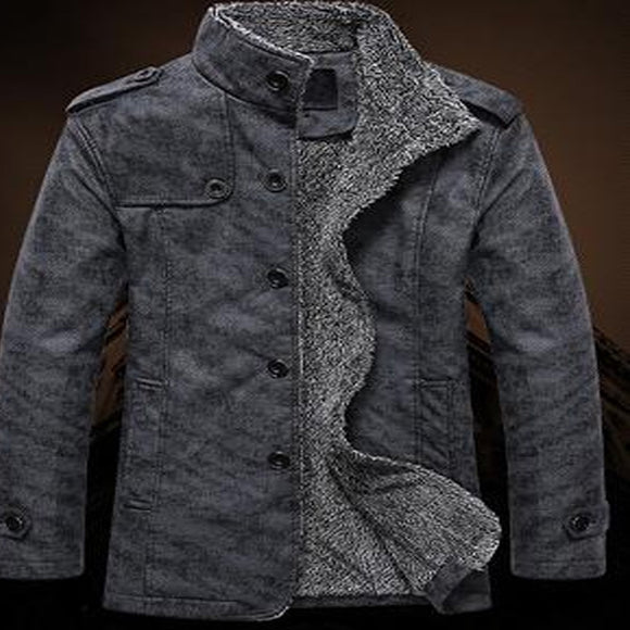 New Winter Men Mandarin Collar PU Leather Cashmere Windbreaker Button Warm Casual Jackets
