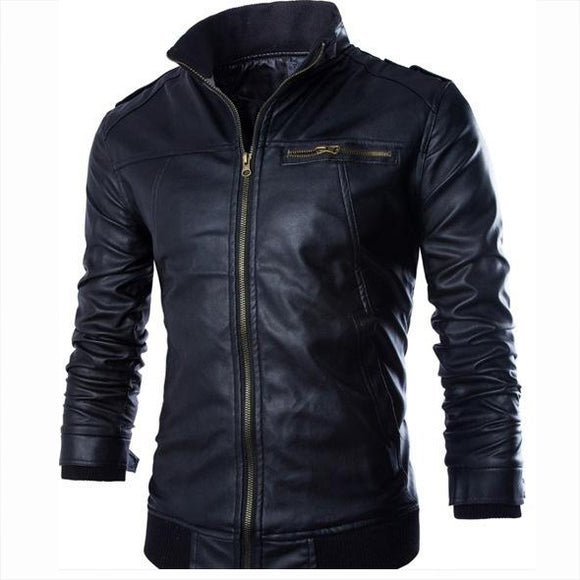 New Autumn Winter Men Mandarin Collar Zipper Pockets PU Solid Casual Jackets