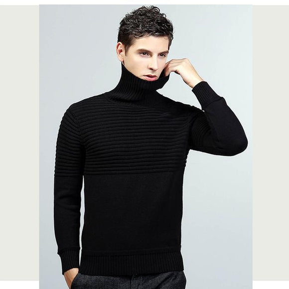Black/Gray Mens Long Sleeve Turtleneck Slim Fit Cotton Casual Flat Knitted Sweaters