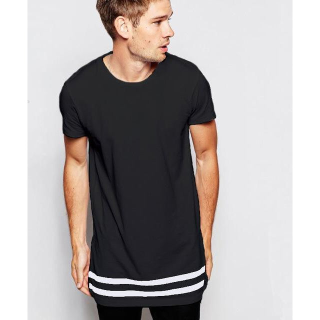 Black/White Men Summer Short Sleeve O-Neck Extended Striped Loose Fit Casual T-Shirt