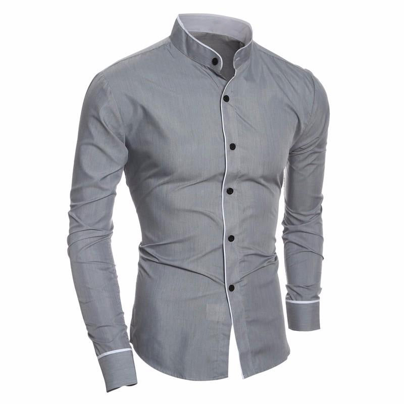 New Arrival Autumn Men Long Sleeve Stand Collar Solid Color Tuxedo Slim Fit Shirt