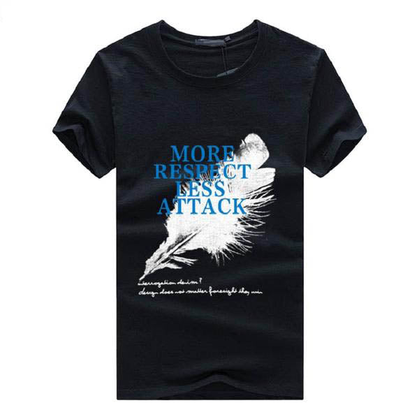 Mens Summer Short Sleeve O-Neck Feather Letter Print Slim Fit Casual T-Shirt Plus Size