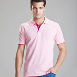 New Men Solid Casual Polo Shirt Cotton Slim Fit Polos