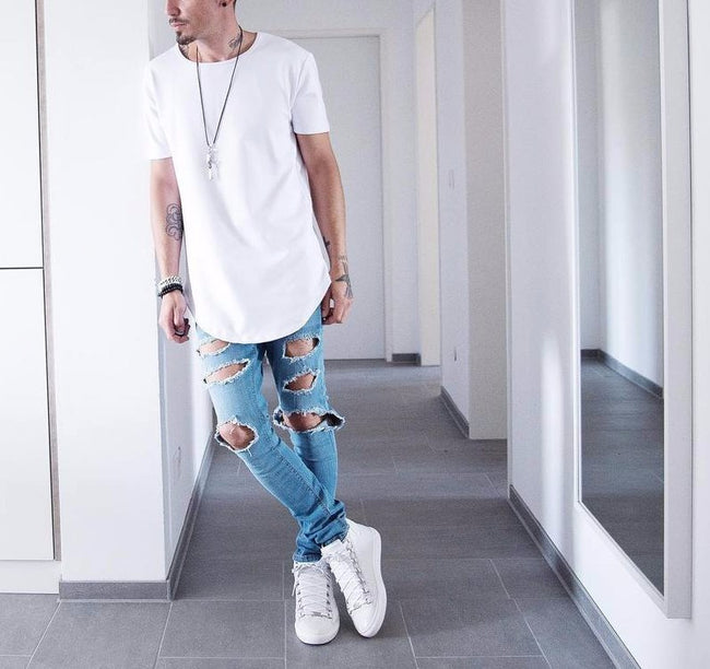 New Summer Men Short Sleeve O-Neck Solid Color Extended Hip Hop Casual T-Shirt