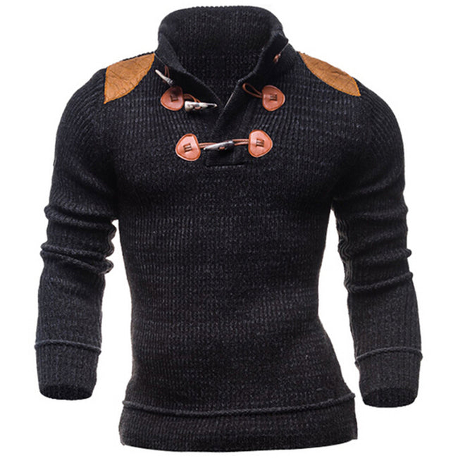 New Autumn Winter Black Mens Long Sleeve Turn-down Collar Horn Button Casual Knitted Sweater