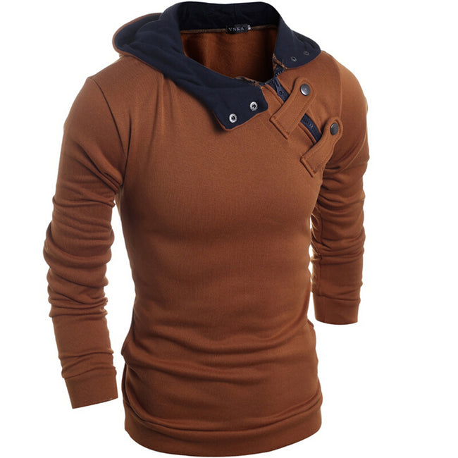 New Fashion Mens Personality O-Neck Button Single Breasted Slim Casual Knitted Sweater