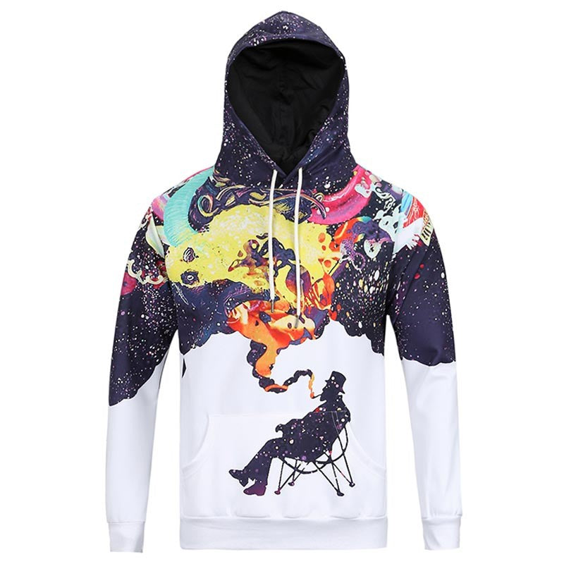 New Arrival Autumn Winter Men's Long Sleeve Smoking Person Print Hoodies Casual Pullovers Sweatshirts