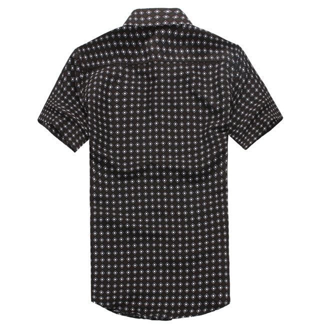 New Fashion Summer Mens Short Sleeve Shirts Plaid Metal Decoration Slim Fitness Dress Shirt