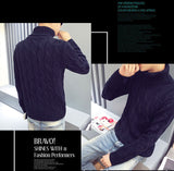 New Autumn Winter Mens Turtleneck Pattern Solid Color Thick Casual Knitted Sweater