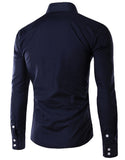 Fashion Mens Long Sleeve Turn-down Collar Single Breasted Pocket Business Casual Dress Shirt