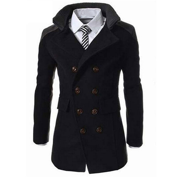 Fashion Men Autumn Winter Turn-down Collar Wool Blend Double Breasted Casual Long Jacket