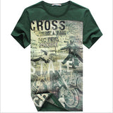 Mens Summer Short Sleeve O-Neck Print Cotton Slim Fit Casual T-Shirt