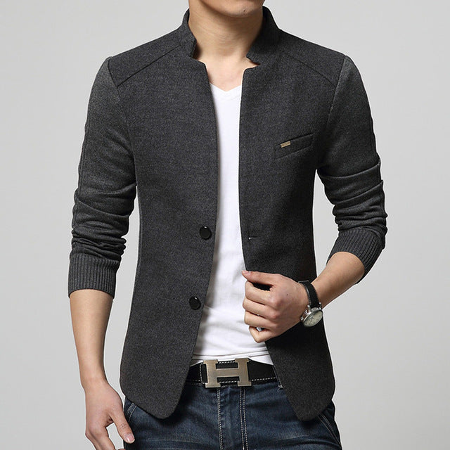 New Mens Patchwork Single Breasted Slim Fit Wool Sport Coat