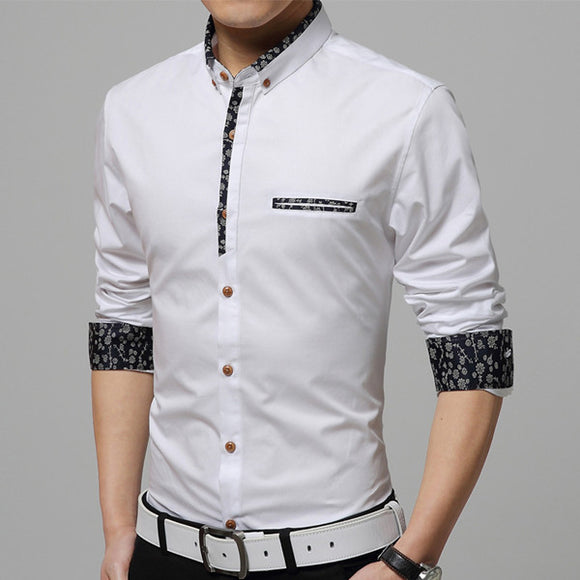 Fashion Long Sleeve Turn-down Collar Single Breasted Mercerized Cotton Business Casual Dress Shirts