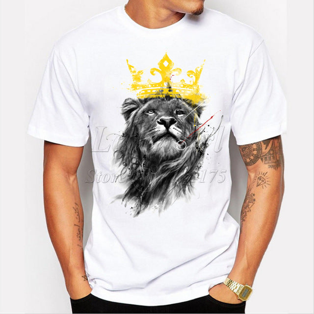 New Summer Men Short Sleeve O-neck King of Lion Printed T-Shirt
