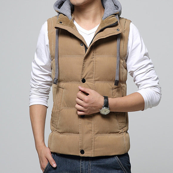 Autumn Winter Mens Turn-down Collar Waistcoat Hat Detachable Hooded Cotton Casual Vest