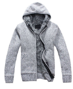 New Autumn Winter Mens V-Neck Zipper Thick Hooded Wool Casual Sweaters