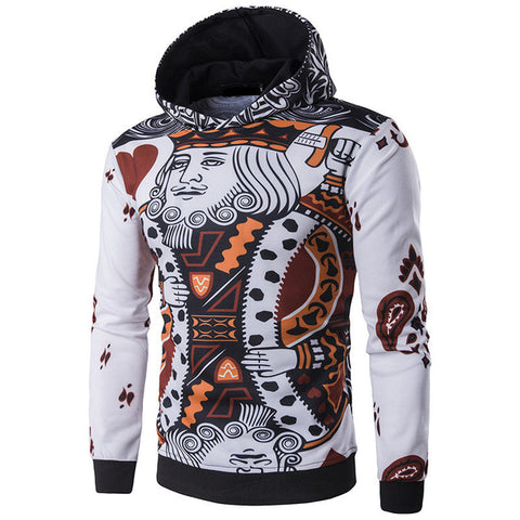 New Fashion Men's Geometry Print Stitching Sweatshirts Slim Hoodies