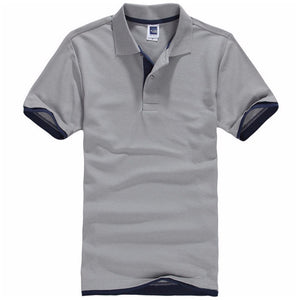 New Summer Men Short Sleeve Cotton Polo Shirts Solid Breathable Polos