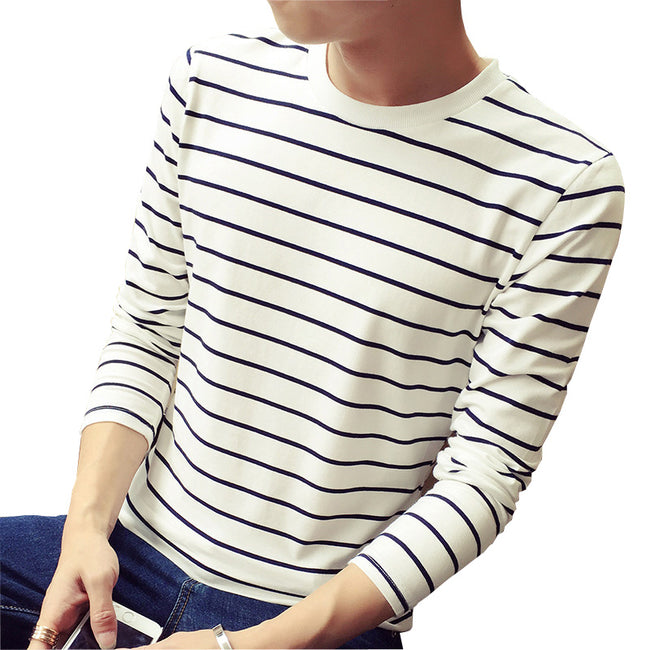New Spring Autumn Long Sleeve O-Neck Classic Stripe Slim Fit Cotton Casual T Shirt
