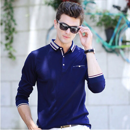 New Spring Autumn Men Long Sleeve Polo Shirt Business Casual Solid Polos