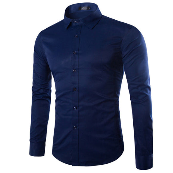 Long Sleeve Turn-down Collar Solid Color Slim Fit Business Casual Dress Shirts