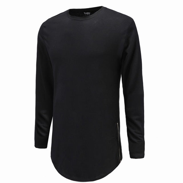 Black/White Men Long Sleeve O-Neck Solid Color Extend Side Zipper Curved Hem Casual T-Shirt