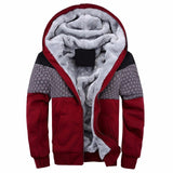 Autumn Winter Mens Vintage Print Zipper Pockets Thick Fleece Slim Fit Casual Hooded Jackets