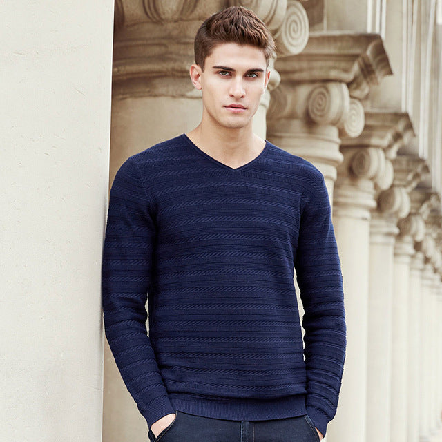 New Spring Autumn Men V-Neck Pleated Thin Wool Comfortable Casual Sweater