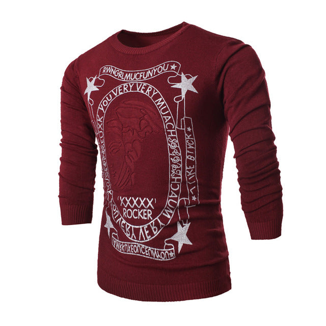 New Autumn Winter Men O-Neck Five-Oointed Star Print Button Cotton Casual Knitted Sweater