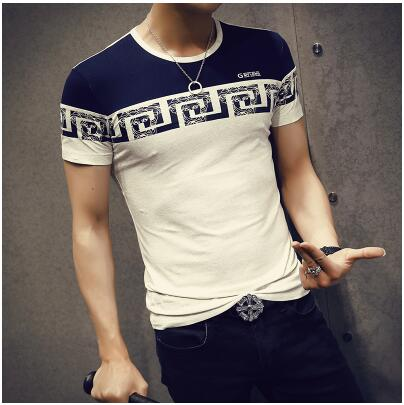 New Summer Mens Short Sleeve O-Neck Patchwork Printed Slim Fit Casual T Shirt