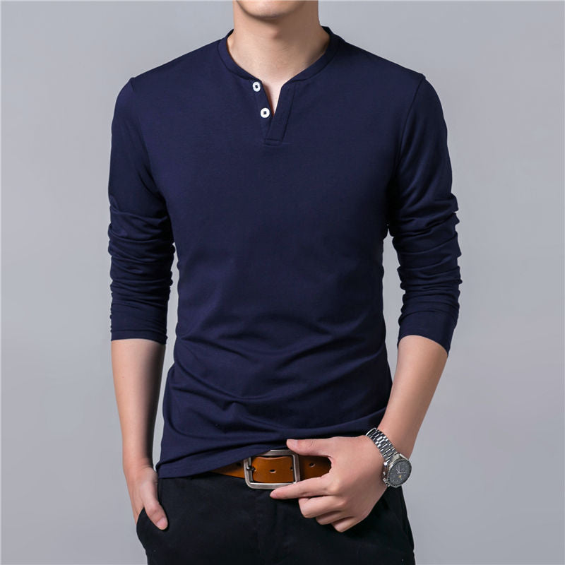 New Spring Summer Mens Long Sleeve Henry Collar Soft Solid Color Cotton Slim Fit Casual T-Shirt