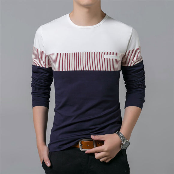 New Spring Summer Men Long Sleeve O-Neck Patchwork Cotton T Shirt