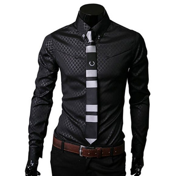 Mens Long Sleeve Turn-down Collar Plaid Print Slim Fit Casual Dress Shirts