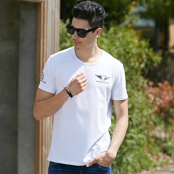 New Summer Men White/Black Short Sleeve O-Neck Print Elastic Breathable Casual T-Shirt