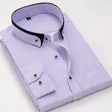 Mens Long Sleeve Turn-down Double Collar Button Striped Slim Fit Dress Shirts