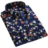 New Spring Mens Floral Print Long Sleeve Casual Shirt Slim Dress Shirts
