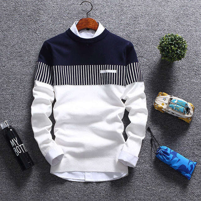 Mens Spring Autumn Winter Long Sleeve O-Neck Patchwork Wool Casual Knitted Sweater