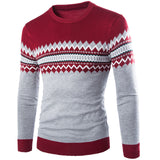 Autumn Winter Men O-Neck Pattern Patched Slim Fit Cotton Casual Knitted Sweater