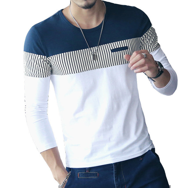 New Arrival Spring Autumn Men Long Sleeve Patchwork Striped Casual T Shirt