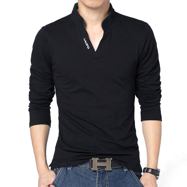 New Arrival Fashion Men Long Sleeve Solid Color Polo Shirt Casual Slim Fit Polos