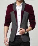 New Spring Autumn Men's Single Breasted Blazer Patchwork Casual Sport Jacket
