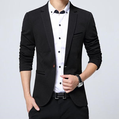 New Men's Single Button Solid Slim Fit Casual Blazer