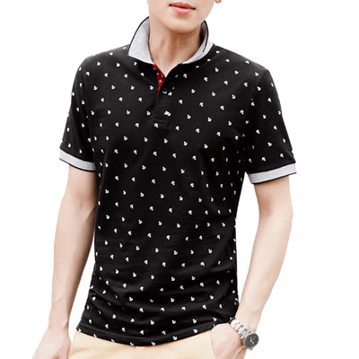 New Summer Men Short Sleeve Printed Cotton Polo Shirts Stand Collar Polos