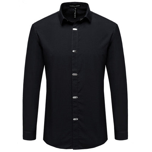 New Long Sleeve Turn-down Collar Single Breasted British Style Solid Slim Fit Casual Shirts