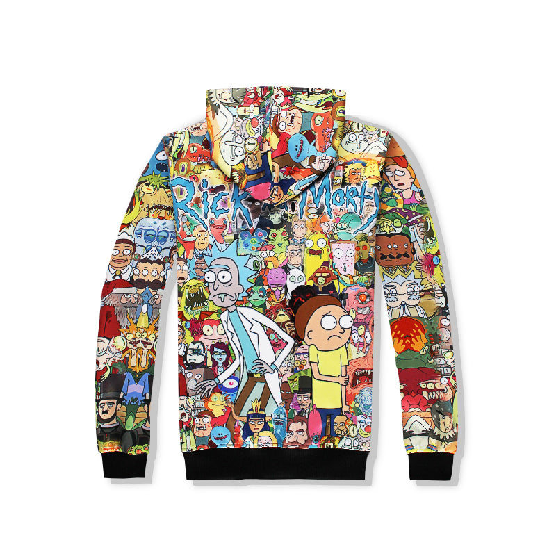 New Men Cartoon Rick and Morty Print Hoodies Casual Pullovers Sweatshirt