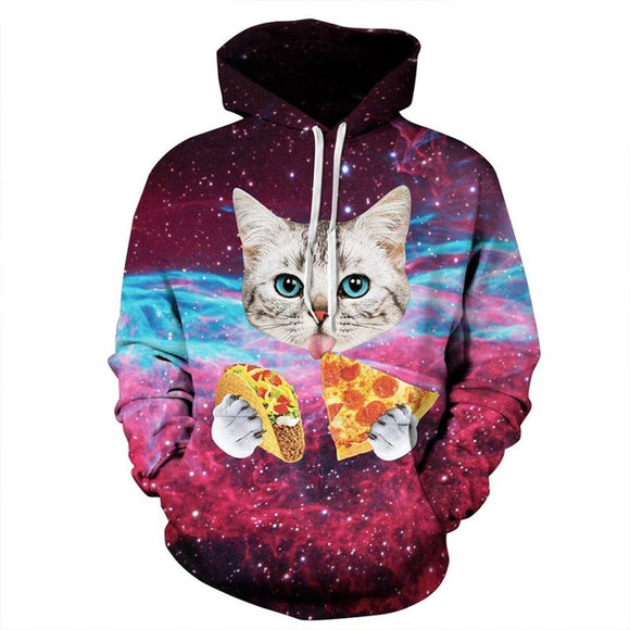 New Men/Women Pizza Cat Space Galaxy 3D Print Hoodies Autumn Winter Thin Sweatshirts
