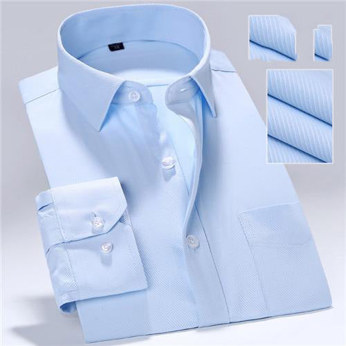 Spring Autumn Mens Long Sleeve Turn-down Collar Pockets Pure Color Business Formal Dress Shirt