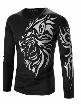 New Autumn Men's Long Sleeve O-Neck Dragon Printing Casual T Shirt