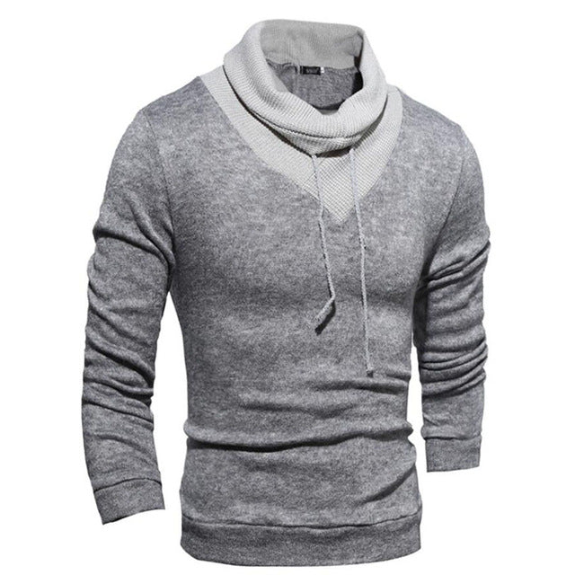New Men Long Sleeve Turtleneck Thin Delta Stitching Casual Slim Belt Sweater